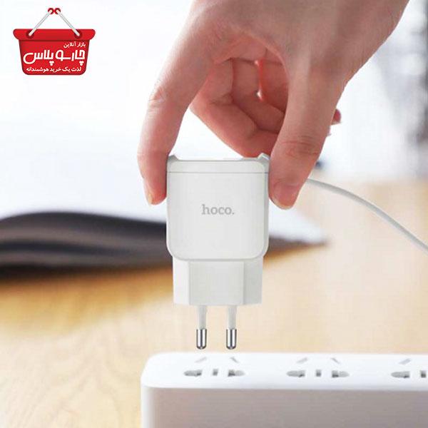 (1003)شارژر سیم وصل hoco-C59A Type-C + دو خروجی USB