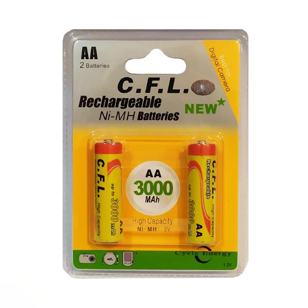 باتری قلمی AA قابل شارژ .C.F.L ظرفیت 3000 میلی آمپر بسته دو عددی