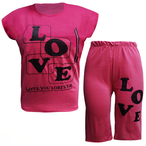 تاپ و شلوارک قواره دار زنانه طرح LOVE کد 1104